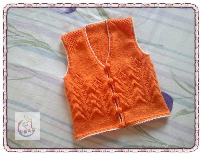 """Оранжевая жилетка с ажуром """"цветы"""" на застежке с пуговицами"""