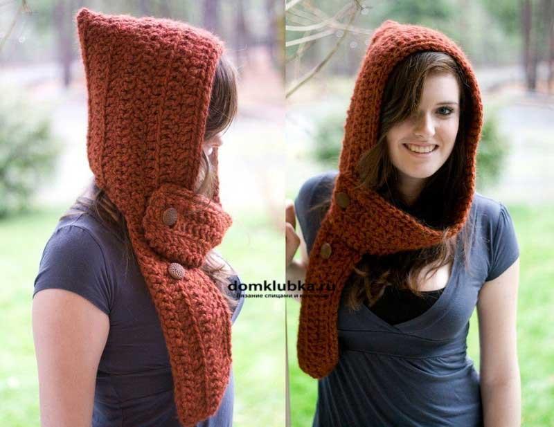 Рыжий шарф-капюшон крупной вязки с капюшоном гномиком