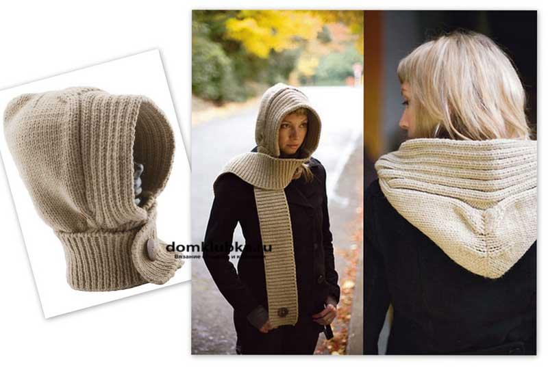 Бежевый шарф капюшон на пуговице