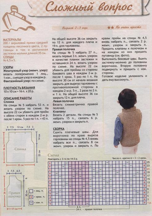 Описание, схема, инструкция по вязанию жилетки для мальчика
