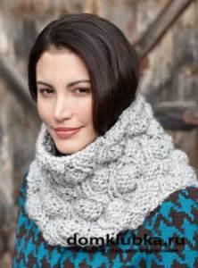 Объемный шарф труба крупной вязкой