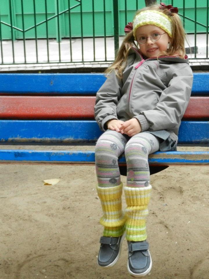 Жёлтые детские гетры в резинку