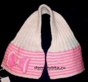 Розовый шарф с бантиком