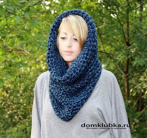 Вязаный шарф как головной убор