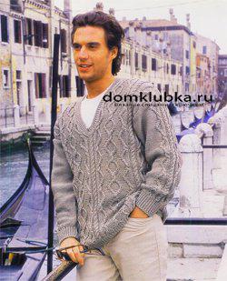 Стильный серый пуловер