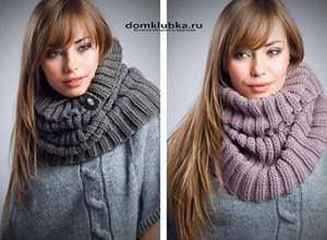 Тёплый и красивый круговой шарф