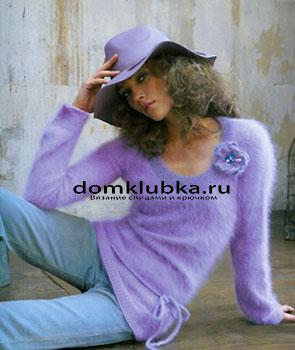 Фиолетовая кофточка из мохера