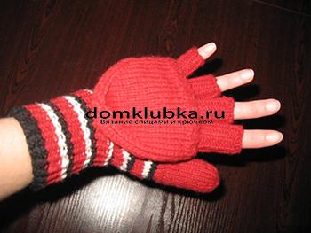 Красные варежки-перчатки
