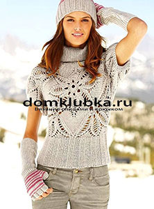 Оригинальный пуловер с короткими рукавами