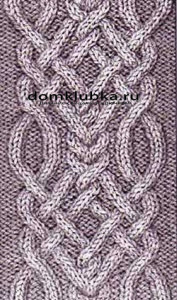 Переплетённым узором для шарфа