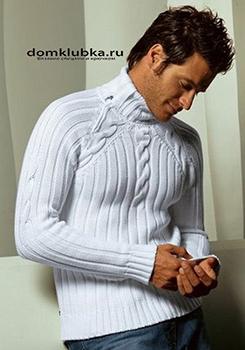 Белый мужской пуловер