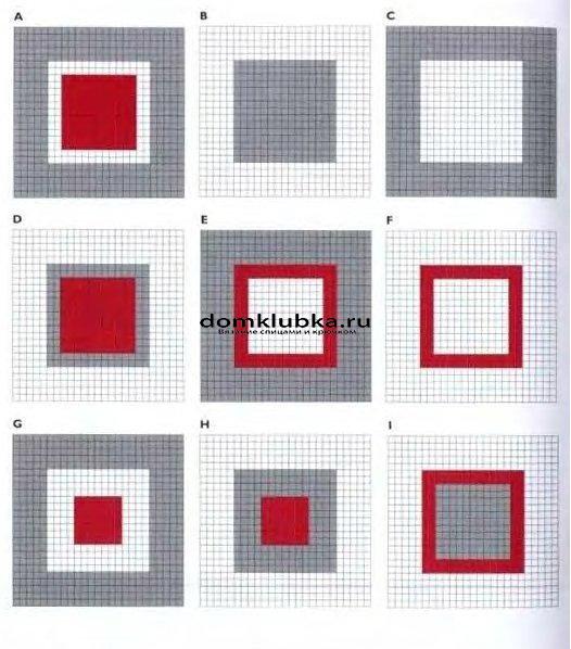 Схема вязания цветных квадратов