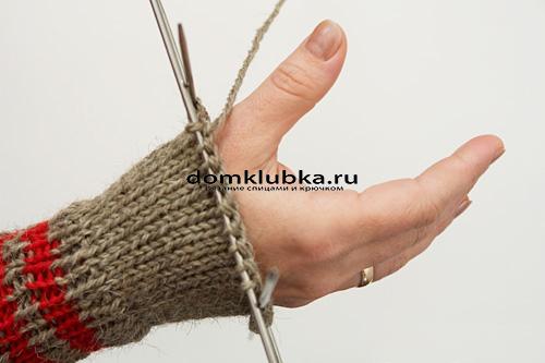 Вывязывание отверстия большого пальца
