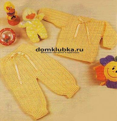 Вязаные жёлтый комплект для новорожденного