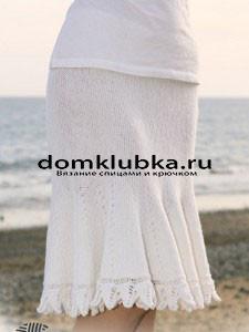 Белая вязаная юбка для полных