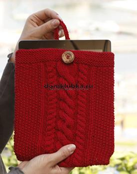Вязаный красный чехол для планшета