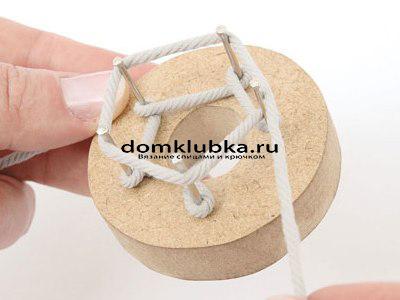 Плетение круглого пояса-шнура - процесс вязания №4