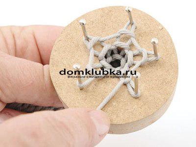 Плетение круглого пояса-шнура - процесс вязания №6