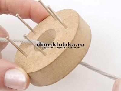 Плетение круглого пояса-шнура - процесс вязания №1