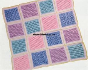 Весёлый плед из разноцветных квадратов