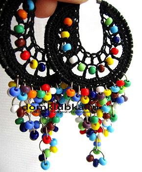 Цветные вязаные серьги
