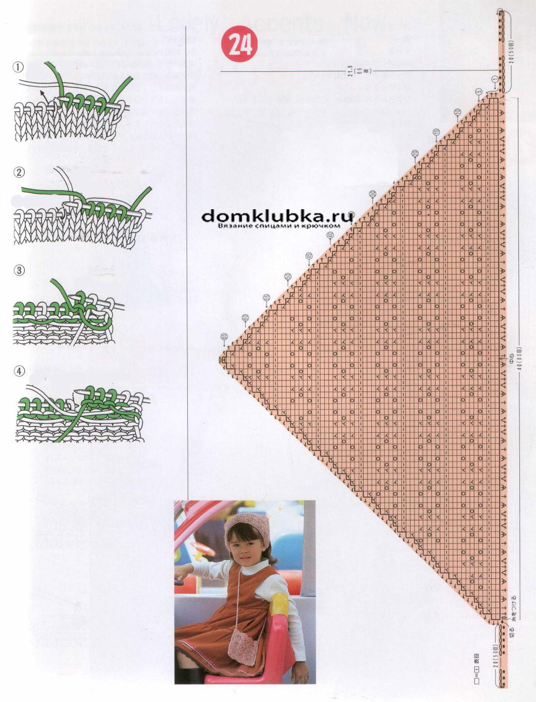 вязание косынок спицами схемы и описания