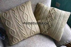 Вязаные подушки с красивым узором