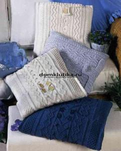 Простые вязаные подушки