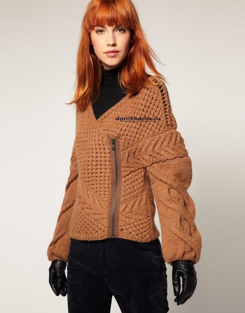 Вязаная куртка коричневого цвета