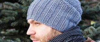 Вязаная мужская шапка спицами: схемы и фото