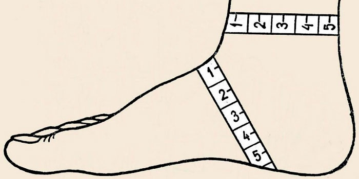 мерки стопы для носков