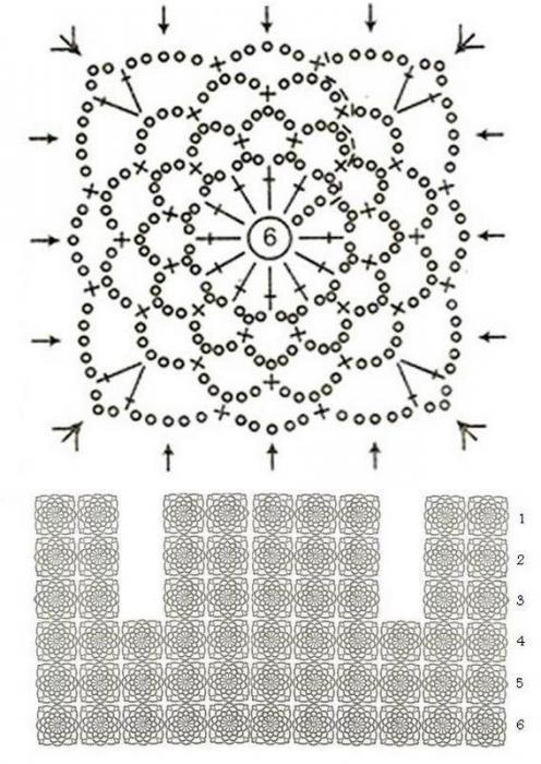 Создаём болеро крючком из квадратных мотивов